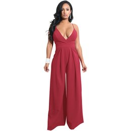 Wholesale Open Back Rompers - Women Wide Leg Jumpsuit Deep V Neck Tied Bow Open Back Rompers Womens Jumpsuit High Waist Casual Vintage Playsuit Overalls 2018