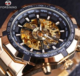 Wholesale classic dressing for men - Forsining Classic Watch Automatic Mechanical Skeleton Golden Mens Sport Watches Top Brand Luxury Designer Fashion Casual Dress Watch For Man