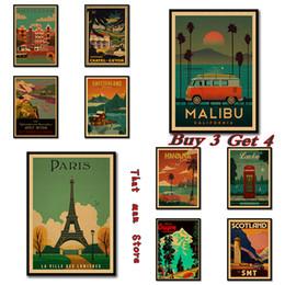 2019 adesivi londra Vintage Travel Paris / London Poster Retro Kraft Poster da viaggio Decorativo Adesivo da parete fai da te Home Bar Poster Decorazione Regalo per bambini sconti adesivi londra