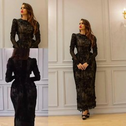 Wholesale Full Size Evening Gowns - Yousef Aljasmi Vintage Tea-length 3D Floral Evening Dresses with Long Sleeve 2018 Modest High Neck Full Back Dubai Arabic Prom Gowns