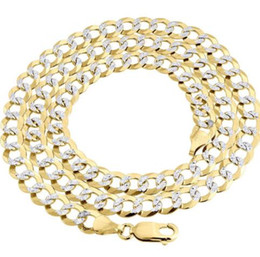 Real 10K oro amarillo relleno sólido corte diamante cadena de enlace cubano 7.25mm collar 24