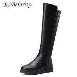 Argentina KEBEIORITY Mujeres Botas de Cuero Primavera Otoño Rodilla Botas Zapatos Planos Negro Cuero Mujeres Moda Tall Nieve 2017 supplier tall flat boots women Suministro