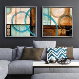 tela di pittura per ufficio moderno Sconti Cerchi blu e marrone moderno dipinto astratto stampe su tela ufficio poster cuadros decoracion per soggiorno arredamento per la casa