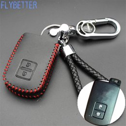 Wholesale Toyota Remote Control Key - FLYBETTER Genuine Leather Remote Control Key Chain Cover Case For Toyota Camry Crown 2Button Smart Key L2042