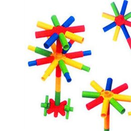 Wholesale Toy Pipes - Pipe Shape Building Blocks Baby Puzzle Desktop Toys Kindergarten Plastic Flowers Design Block For Kids Education Props Free Shipping 4 8tb Z