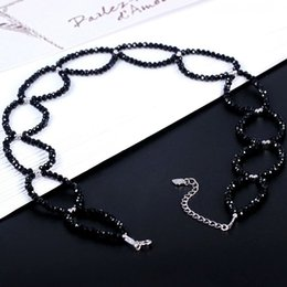 Wholesale Handmade Diamond Necklace - 2018 Spring Summer New Handmade Sterling Silver Black Spinel Necklace and Simple Fashionable Classic Clavicle Short Necklace to Reveal the B