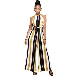 Wholesale Women Silk Jumpsuit - Queen Wide Leg Jumpsuit For Women Lace up Striped Silk Jumpsuit Sexy Halter Neck Sleeveless High Waist Romper Overall Yellow Red