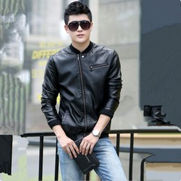 Wholesale black leather jackets for men - Wholesale- 2017 Men Leather Jacket Fashion Slim Stand Collar Solid Plus Size Leather Coat For Male Outerwear Black M-5XL High Quality