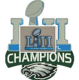 Wholesale embroidered football - iron on super LII champions embroidered linear 2018 bowl eagles jersey patch