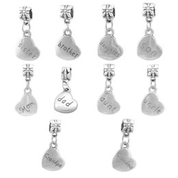 mother son charms Coupons - zinc alloy Heart Dad Mother Son Daughter The Family Set Charm Fit pandora Charms Bead Bracelets&Bangles DIY Jewelry Making