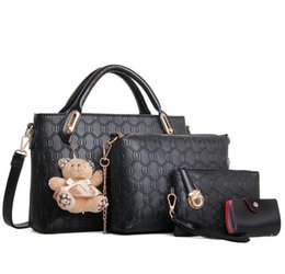 Wholesale Small Mother Bag - Hot sell 4pcs lot Fashion embossed small bear four pieces of mother handbag with a bag of women's handbags