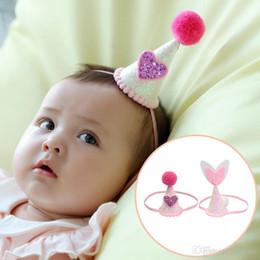 Wholesale pink baby hats - Baby girls 3D Hats Caps heart rabbit ear headbands Brithday Kids Elastic Hairbands Children Hair Accessories Crown Headdress KHA588
