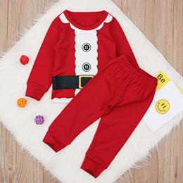 2019 pijamas de natal para crianças 3t Bebê Xmas pijamas 2 pc set top + calças bonito crianças meninos meninas Natal santa cosplay roupas 0-2 T desconto pijamas de natal para crianças 3t