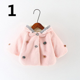 Wholesale Girls Fur Hooded Poncho - Cloak Cape Toddle Baby Girl Pink Winter Outwear Warm Fur Hooded Cloak Shawl Cape Poncho Coat