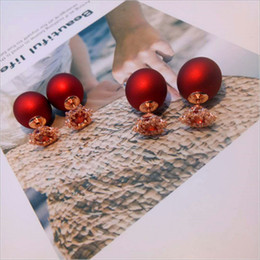 Wholesale Red Snowflakes - Korean fashion S925 sterling silver Christmas snowflake pearl double-sided earrings female models simple pearl earrings female models