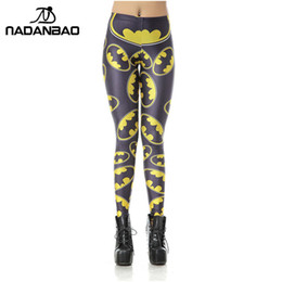 batman leggings UK - NADANBAO New Women Leggins High Waist Cartoon Batman Logo Badge Legins Printed Skinny Leggings