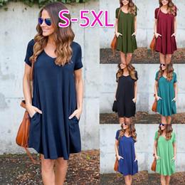 Wholesale Basic Mini Dress - Women Summer Fashion V Neck Basic Short Sleeve Pocket T-Shirt Dress Women Casual Loose A-line Ruffles Beach Dress CL377