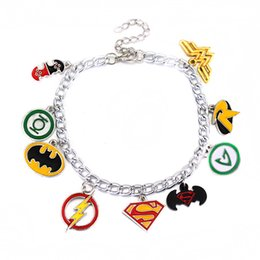 Wholesale Green Day Wristbands - Superman Wonder Woman Batman The Flash Green Lantern Charm Bracelet Wristband Chains Fashion Jewelry for Women Gift DROP SHIP 320011