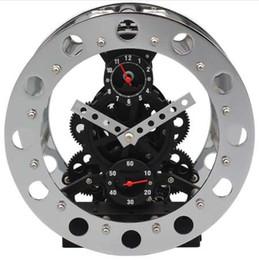 Wholesale Gear Decor - Metal Gear Clock Modern Design Alarm Clock Vintage Auto Gear Table Clocks Retro Craft Desk Watch Home Decor 8 inch