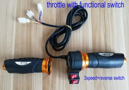 Wholesale Bike Tricycles Electric - twist throttle with cruise reverse horn switch 3speed switch for electric bike scooter tricycle MTB rolling handlebar grips Accelerator