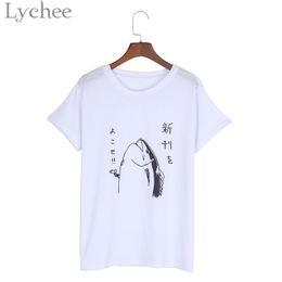 Wholesale Fish Gun Fishing - Wholesale-Lychee Harajuku Japanese Style Summer Women T-shirt Fish Gun Print Short Sleeve Casual Loose T Shirt Tee Top