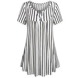 Argentina 2018 Tops y blusas para mujer Botón túnica con estampado de rayas Manga corta Camisetas largas Cuello en V suelta Ropa de mujer casual cheap tunic shirts for women Suministro