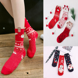 Calcetines de navidad alces rojos online-Warm Elk Snowman Women's Cotton Socks Snowman Año Nuevo Christmas Festive Winter Cartoon Cute Red Socks