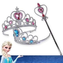 Mädchen gefrorenes zubehör online-Frozen Crown Twinkle Haarschmuck für Mädchen Prinzessin Bridal Crown Kristall Tiara Hoop Stirnband Haarbänder Zauberstab