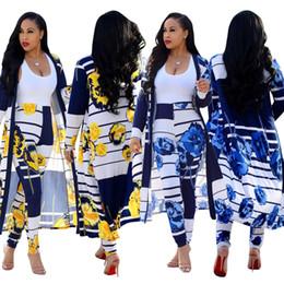 Wholesale plus size floral pants - 2018 Casual Women 2 Pieces Sets V-neck Cloak + Leggings Bodycon Floral Printed Novelty Ladies Beach Wear Long Maxi Coat Plus Size OL