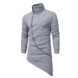 Wholesale Turtleneck Hoodie Mens - Mens Clothing Tops Spring Irregular Hem Side Zipper Design Black Grey Long Sleeved Hoodies Pullovers Clothing Sweatshirts