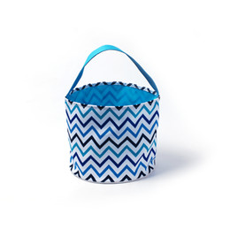 Wholesale Chevron Flowers - 25cm*23.5cm Multi Chevron Easter Baskets Wholesale Blanks Canvas Polka Flower Easter Buckets Easter Day Kids Gift Tote DOM106798