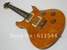 Wholesale Electric Guitar Bird Inlay - High Quality Yellow Flame Custom Reed Electric Guitar Birds Inlay Fingerboard Free Shipping Wholesale
