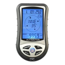 Wholesale Barometer Thermometers - Digital LCD 8 In 1 Compass Altimeter Barometer Thermometer Weather Forecast History Clock Calendar for Hiking ing