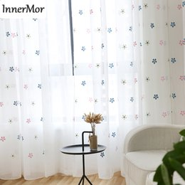 Wholesale embroidered tulle curtains - Innermor embroidered children's curtain for bedroom White pink snow tulle Curtains for living room sheer ready made Customize