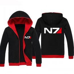 Wholesale Mass Effect Hoodie - NEW Mass Effect N7 Men Women Zip-Up Hoodies Sweatshirts Game Team Zipper Hoody Warm & Cozy Outwear Casual Fast Shipping