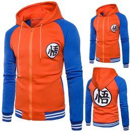 2019 casaco z CW Dos Desenhos Animados Dragon Ball Z Goku Moletom Com Capuz Homens Camisola Casual Slim Fit Zipper Hoodies Moletons Com Capuz Jaqueta de Beisebol Dos Homens WY1302 casaco z barato