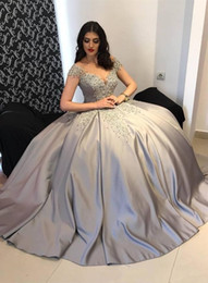 Wholesale Dark Purple Short Prom Dresses - 2018 New Arabic Women Evening wear Dresses Cap Sleeves Gray Silver Lace Appliques Beaded Satin Ball Gown Plus Size Cheap Party Prom Gowns
