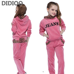 Wholesale Girls Velvet Tracksuits - School Girls Clothing Sets Leopard Velvet Sports Suits For Girls Hoodies & Pants Casual Kids Outfits Brand Children Tracksuits