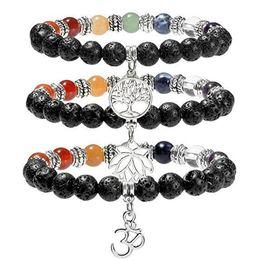 Wholesale seven days - JLN Chakra OM Charm Bracelet Yoga Healing Seven Color Meditation Life Tree Mala Prayer Lava Gemstone Beaded Stretch Bracelet For Man Woman