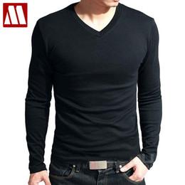 china asien Rabatt Heißer Verkauf neuer Frühling hoch-elastischer Baumwolle T-Shirts der Männer lange Hülse V-Ansatz festes T-Shirt geben CHINA-PFOSTEN Verschiffen frei Asien S-XXXXXL