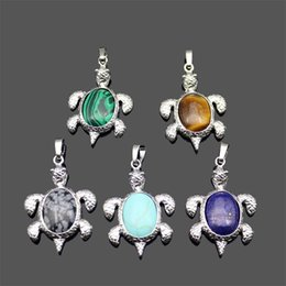 Wholesale Diy Gemstone Necklace - New Natural Stone Pendant Gemstone Sea Turtle Charms Tortoise Pendant DIY Necklace For Women Men Jewelry