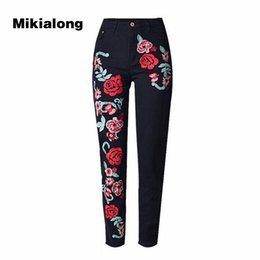 Wholesale Womens Boyfriend Jeans - 2017 Flower Embroidery Jeans Woman High Waist Black Cotton Boyfriend Jeans Mujer Large Size Casual Denim Womens