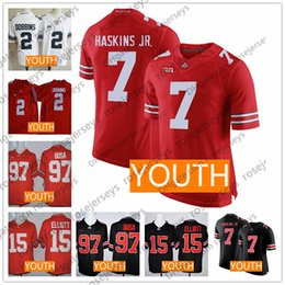 713584d22 Youth Ohio State Buckeyes  7 Haskins  2 Dobbins  97 Bosa  15 Elliott Red  Lights Out Black White OSU Kids NCAA Jerseys S-XL