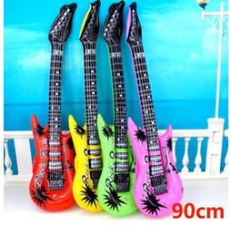 Guitarras elétricas iniciantes on-line-Inflado Toy guitarra criança instrumento musical estilo guitarra elétrica 90 centímetros de aprendizagem Beginner