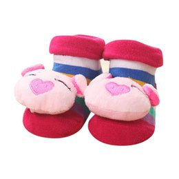 Wholesale cute boots for girls - 2018 Cute Cartoon Newborn Baby Girls Boys Anti-Slip Socks Slipper Bell Shoes Boots For Baby G1207