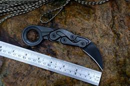 Когтевой нож d2 онлайн-Г-старт механические Коготь черный побеленными лезвие D2 одна сплошная сталь ручка открытый тактический karambits инструменты с Kydex ножны нож чехол