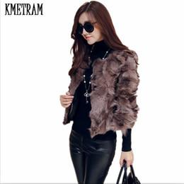 симпатичный пиджак из лисы Скидка KMETRAM 2018 Short Fur Coat Winter Fashion Women  Fur Coats Furry Cute Woman Jacket Plus Size S-3XL Coat Jacket HH451