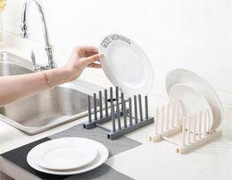 Estante de la bandeja de la cocina online-New Housekeeping Dish Tray Rack Organizador de cocina Estantes Estantes de plástico para platos Tablewear Drying Rack Cup Platos Soporte para el hogar