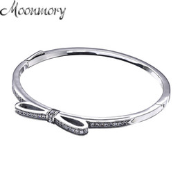 Wholesale Bow Bangles - whole saleMoonmory Sparkling Bow Bangle S925 Sterling Silver Bow Tie Shaped Bracelet With Clear Zircon For Woman Diy Silver Jewelry Bangle