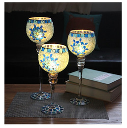 Wholesale Romantic Bedding Sets - European blue flowers goblet mosaic sets of three candlesticks romantic home decor furnishings send lights string